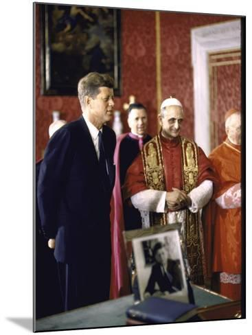 US Pres. Kennedy Meeting with Newly Crowned Pope Paul VI in the Pontiff's Library-John Dominis-Mounted Photographic Print