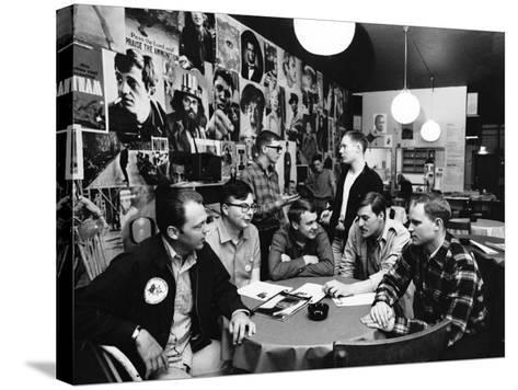 Group of American Army Veterans Who Oppose the Vietnam War Meeting at the Shelter Half Coffeehouse--Stretched Canvas Print