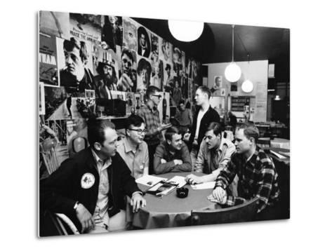 Group of American Army Veterans Who Oppose the Vietnam War Meeting at the Shelter Half Coffeehouse--Metal Print