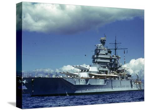 Battleship During Us Navy Manuevers Off Hawaii-Carl Mydans-Stretched Canvas Print
