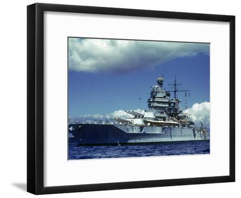 Battleship During Us Navy Manuevers Off Hawaii-Carl Mydans-Framed Art Print