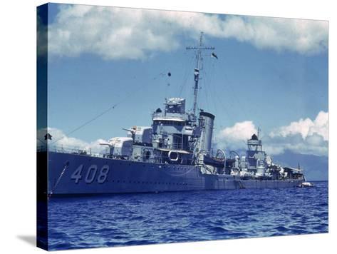 Destroyer Uss Wilson During Us Navy Manuevers Off the Hawaiian Islands-Carl Mydans-Stretched Canvas Print