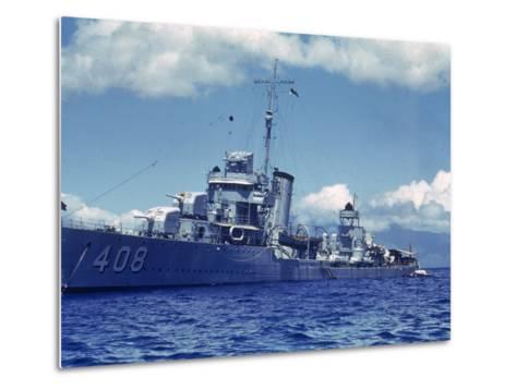 Destroyer Uss Wilson During Us Navy Manuevers Off the Hawaiian Islands-Carl Mydans-Metal Print