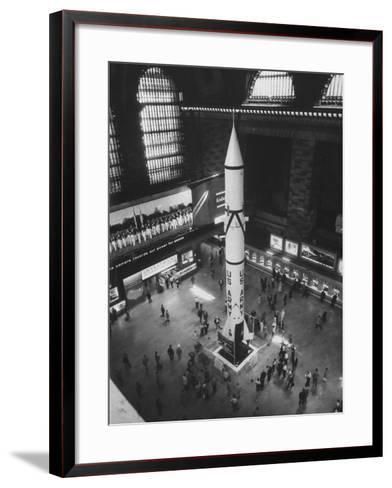 Rocket Being Displayed at Grand Central Station as a Salute to International Geophysical Year--Framed Art Print