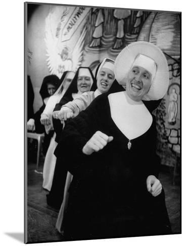 Nuns Putting on Original Musical Comedy at University of Notre Dame--Mounted Photographic Print