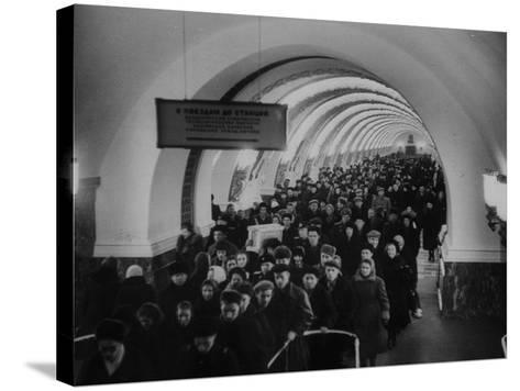 People Crowding Through Station in New Subway-Ed Clark-Stretched Canvas Print