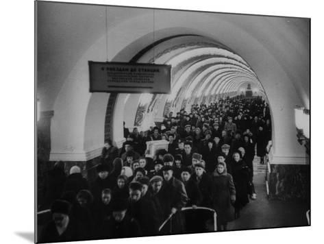 People Crowding Through Station in New Subway-Ed Clark-Mounted Photographic Print