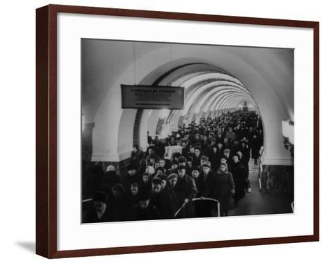 People Crowding Through Station in New Subway-Ed Clark-Framed Art Print