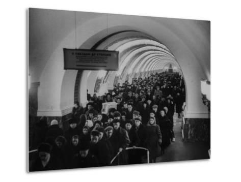 People Crowding Through Station in New Subway-Ed Clark-Metal Print