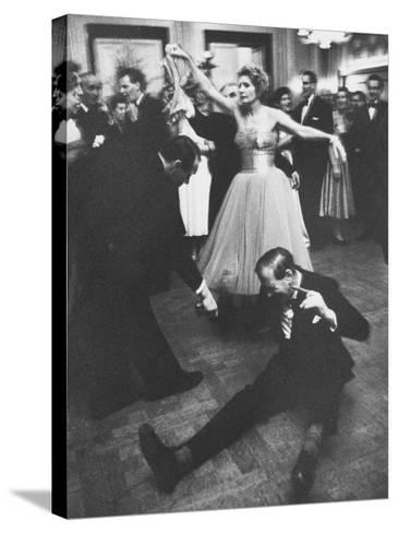 Lady Bernard Docker in Formal Dress, on Floor, Dancing at Fabulous Party Thrown by Her-Carl Mydans-Stretched Canvas Print