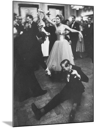 Lady Bernard Docker in Formal Dress, on Floor, Dancing at Fabulous Party Thrown by Her-Carl Mydans-Mounted Photographic Print