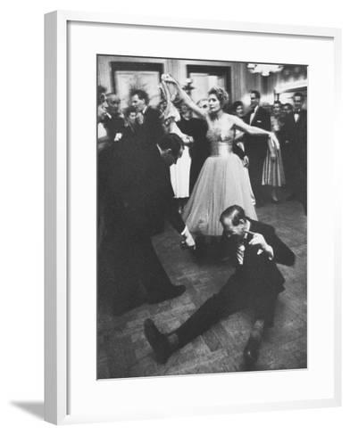 Lady Bernard Docker in Formal Dress, on Floor, Dancing at Fabulous Party Thrown by Her-Carl Mydans-Framed Art Print
