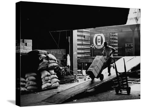 Ship with Food for East Germans Leaving Nyc--Stretched Canvas Print