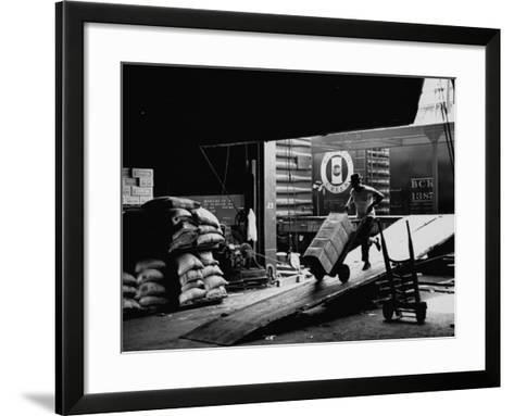 Ship with Food for East Germans Leaving Nyc--Framed Art Print