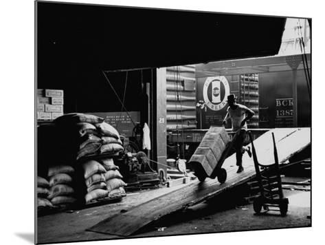 Ship with Food for East Germans Leaving Nyc--Mounted Photographic Print