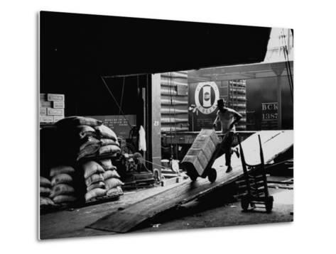 Ship with Food for East Germans Leaving Nyc--Metal Print