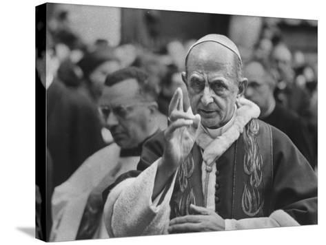Pope Paul Vi, Officiating at Ash Wednesday Service in Santa Sabina Church-Carlo Bavagnoli-Stretched Canvas Print