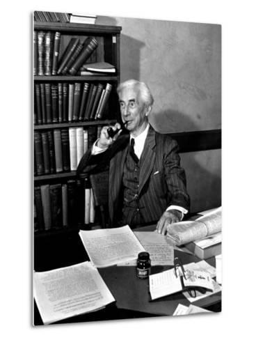 Bertrand Russell Sitting at His Desk at California University at Los Angeles-Peter Stackpole-Metal Print