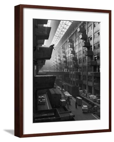 At Brooklyn Army Base Freight Is Lifted from Car to Jutting Loading Platforms-Andreas Feininger-Framed Art Print