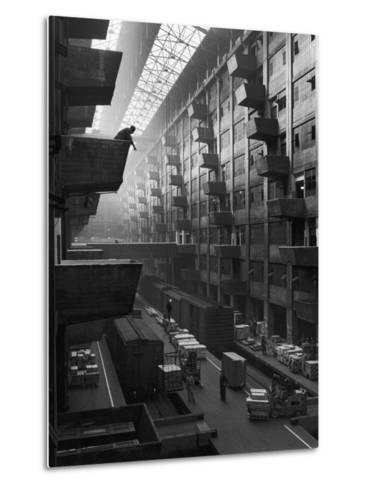 At Brooklyn Army Base Freight Is Lifted from Car to Jutting Loading Platforms-Andreas Feininger-Metal Print