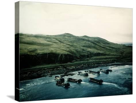 WWII Landing Operations at Kiska in the Aleutian Islands--Stretched Canvas Print