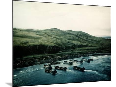 WWII Landing Operations at Kiska in the Aleutian Islands--Mounted Photographic Print