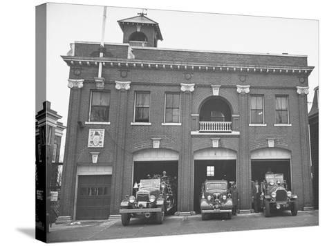 Fire Trucks Sitting Ready to Go at a Firehouse-Hansel Mieth-Stretched Canvas Print