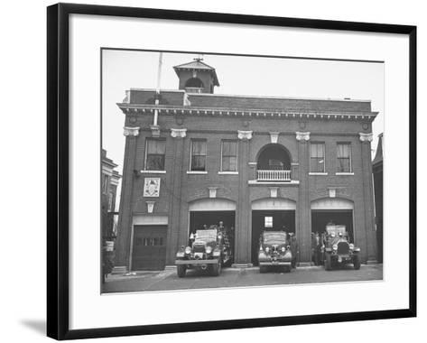 Fire Trucks Sitting Ready to Go at a Firehouse-Hansel Mieth-Framed Art Print