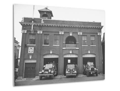 Fire Trucks Sitting Ready to Go at a Firehouse-Hansel Mieth-Metal Print
