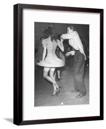 An Aircraft Worker Dancing with His Date at the Lockheed Swing Shift Dance-Peter Stackpole-Framed Art Print