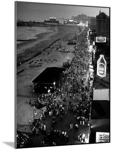 Aerial at Dusk of Beach, Boardwalk and Pier of Resort and Convention City-Alfred Eisenstaedt-Mounted Photographic Print
