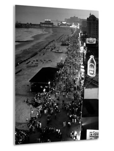 Aerial at Dusk of Beach, Boardwalk and Pier of Resort and Convention City-Alfred Eisenstaedt-Metal Print