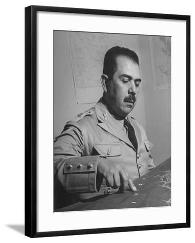 General Lazaro Cardenas, Pointing to a Map as His Continues to Work on a Stradegy-Peter Stackpole-Framed Art Print