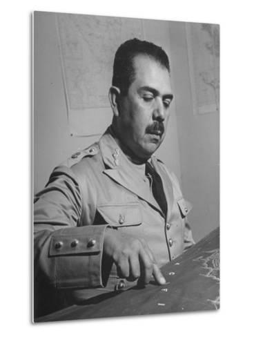 General Lazaro Cardenas, Pointing to a Map as His Continues to Work on a Stradegy-Peter Stackpole-Metal Print