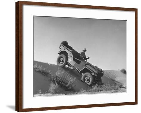 US Army Jeep Rolling Down a Sand Dune During Training Maneuvers in the Desert--Framed Art Print
