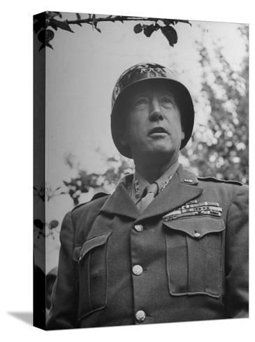 General George S. Patton in Normandy, France-Ralph Morse-Stretched Canvas Print