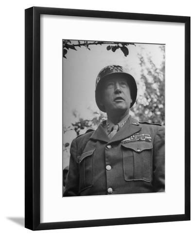 General George S. Patton in Normandy, France-Ralph Morse-Framed Art Print