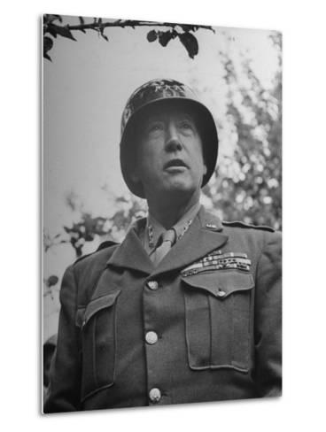 General George S. Patton in Normandy, France-Ralph Morse-Metal Print