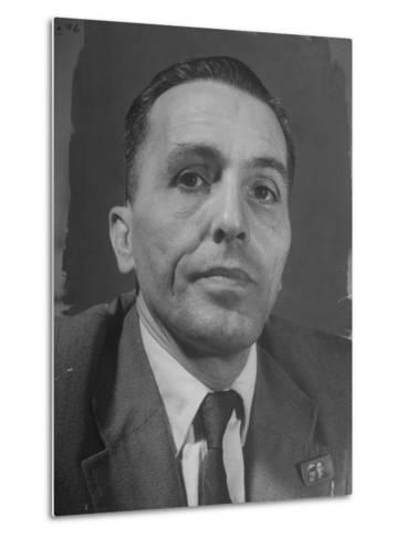 Portrait of Communist Leader Luis Carlos Prestes--Metal Print