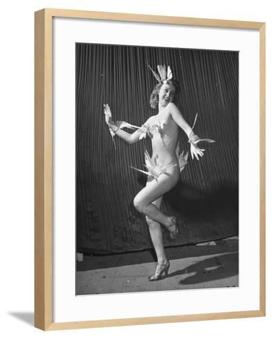 """Nude Burlesque Dancer from """"Folies Bergere""""-Ralph Morse-Framed Art Print"""