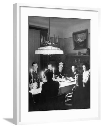 Family and their Guests Having Passover Eve Seder--Framed Art Print
