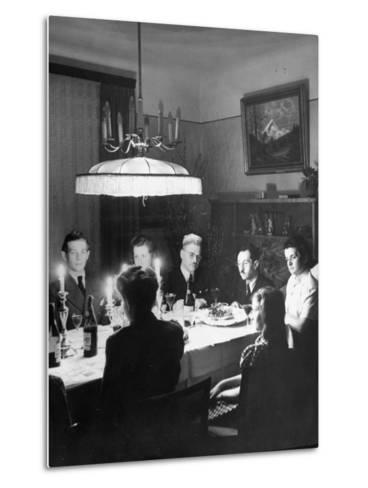 Family and their Guests Having Passover Eve Seder--Metal Print