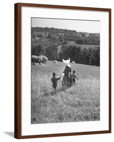 Nun Taking Two Young Children from the Mission on a Walk--Framed Art Print