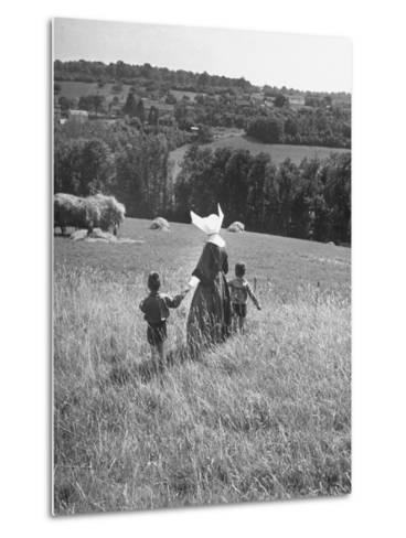 Nun Taking Two Young Children from the Mission on a Walk--Metal Print