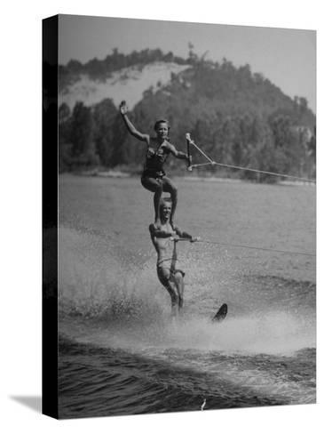 Couple Competing in the National Water Skiing Championship Tournament--Stretched Canvas Print