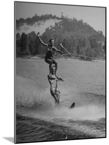 Couple Competing in the National Water Skiing Championship Tournament--Mounted Photographic Print