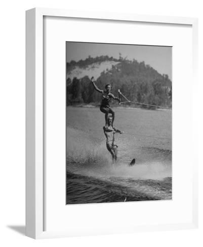 Couple Competing in the National Water Skiing Championship Tournament--Framed Art Print