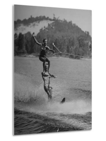 Couple Competing in the National Water Skiing Championship Tournament--Metal Print