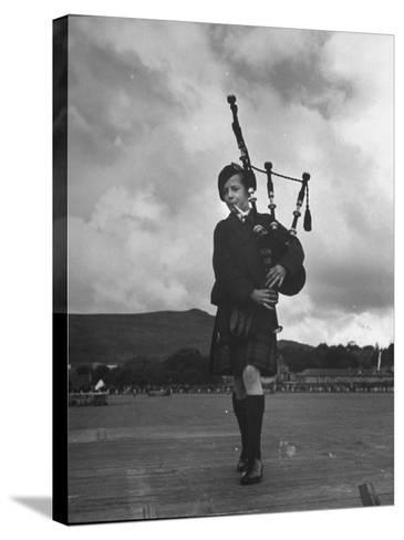 Twelve Year Old Boy Winning First Prize in Both of the Piping Contests Open to Him at Cowal--Stretched Canvas Print