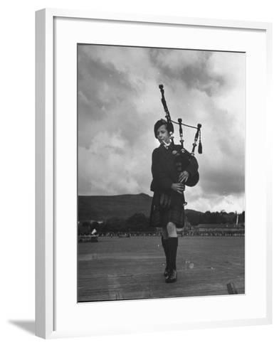 Twelve Year Old Boy Winning First Prize in Both of the Piping Contests Open to Him at Cowal--Framed Art Print